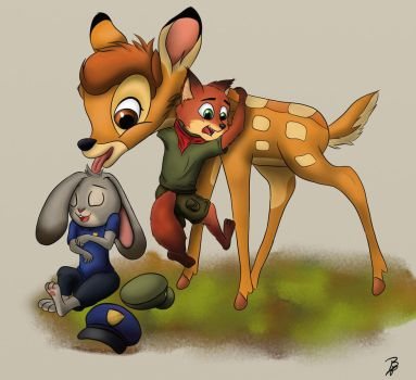 Little Judy, Nick and Bambi by Soraheartsforme
