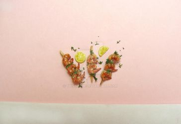Miniature Shrimp Skewers from Polymer Clay by Tristatin