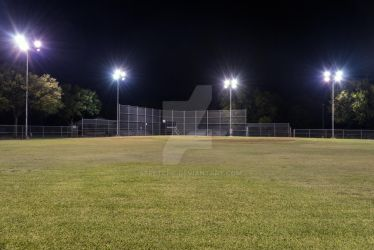 Empty Baseball Field at Night by stretchc