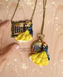 beauty and the beast handmade necklaces by AngeniaC
