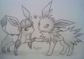 Glaceon x Jolteon 4 by BluuKiss