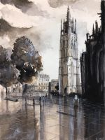 WATERCOLOR - Place Pey Berland by nicolasjolly
