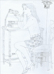 Japanese Woman In Fashion (Graphite Pencil Ver.) by tambok0599