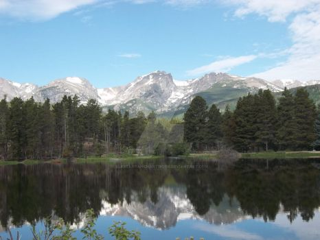 Sprague Lake with Mountain Reflections by ElkStarRanchArtwork