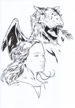 Daenerys [Pencil and ink on paper - A4] by LudoDRodriguez