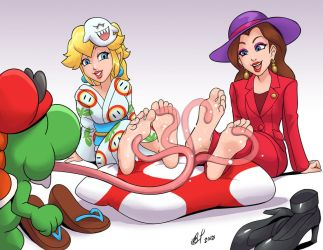 Peach and Pauline got licked by Bad-Pierrot