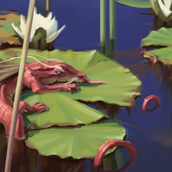 Tiny Dragon on a Lily Pad by eeliskyttanen