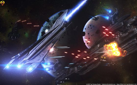 Dreadnought Battle - Denali vs Batarians by Euderion