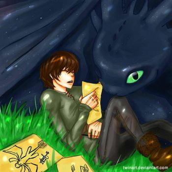 Hiccup and toothless by twinart