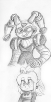 Clownman and Roll sketches by Shoobydooby