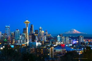 Seattle Skyline with Mount Rainier 2014 by LarryGorlin
