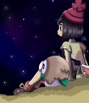 Moon and Rowlet by Cande7
