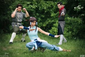 Fire Ferrets 2 - Korra, Mako, and Bolin Cosplay by the-mirror-melts