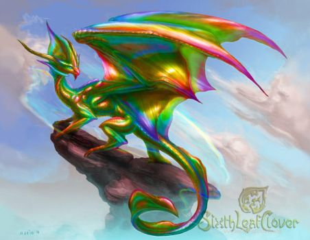 Prismatic Dragon by The-SixthLeafClover