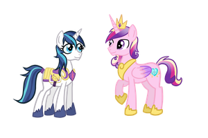 Gender-swapped Shining Armor and Cadence by TheCheeseburger