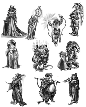 Character Concept Sketch Dump 1 by hyperpiston