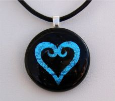 KH Heart Fused Glass Pendant by FusedElegance