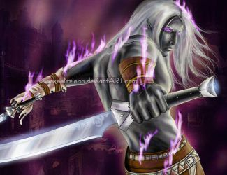 Drizzt Welcomes the Hunter by keelerleah