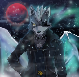 Wolf O'Donnell wandering in Fichina at Night by VivianWolf18