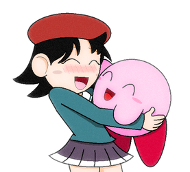 Kirby and Adeleine - Hugging by JBX9001