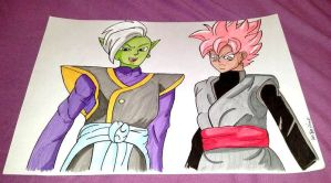 Zamasu and black Goku (rose) by Hibejime
