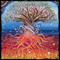 Tree Of Life Bewerkt Space Corner by TebsterArt