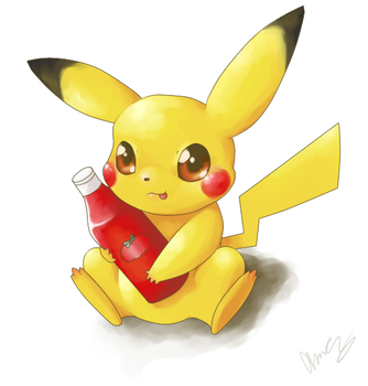 Pikachu and Ketchup by MsKtty89