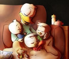 Donald duck and nephews by TOMEart