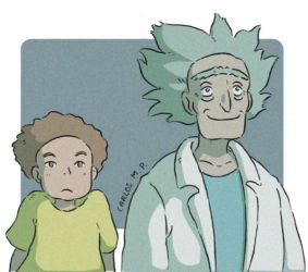 Rick and Morty fan art anime style by Carlos-MP