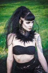 Black lace feather spike neck corset by mysticthread