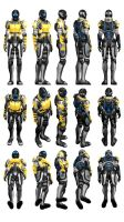 Mass Effect 3, Female Sentinel Armour Reference. by Troodon80