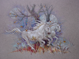Unicorn Autumn Run by M-J-Albert