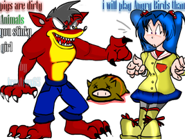Angry EVIL CRASH VS clannad_kotomi by trextrex65