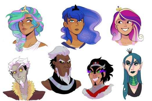 Human!Princesses and Villains Headshots by kilalaaa
