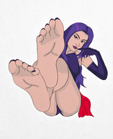 Psylocke's Feet Show (Colored) by OrangeThunder2