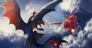 Hiccup and Toothless VS. Hiro and Baymax by Detkef