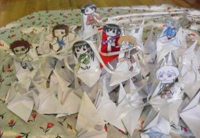 Pray for Japan with cranes by Sapphire-Blossom-Mai