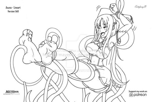 Asuna Version SAO Tickles - Comission Lineart by MayEsior