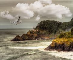 Seascape with Light House by cokehead666