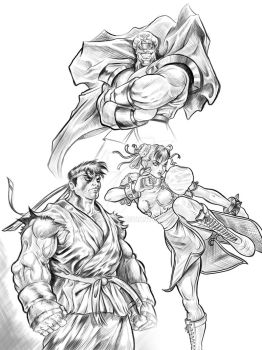 street fighter 2 sketch art @capcom by Russian87