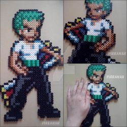 Zoro One Piece perler by Pirranah-HyddenSky