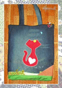 Red Cat on Jeans by marissel