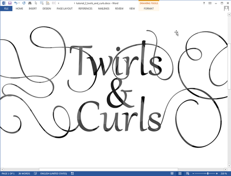 Twirls and Curls text effect in Microsoft Word by upiir