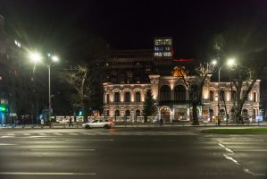 Bucharest my home town - night over central Buchar by Rikitza