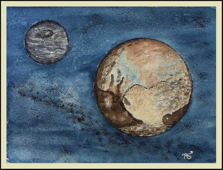 Pluto and Charon by ArmelleS