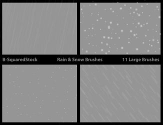 Rain and Snow Brushes by B-SquaredStock