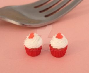 Miniature polymer clay Valentines Day cupcakes by MeganHess