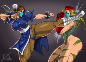 Commission: Chun-li VS Cammy by Osmar-Shotgun