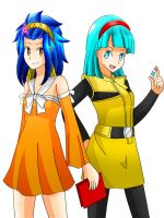 Anime Crossover Levy and Bulma by artycomicfangirl