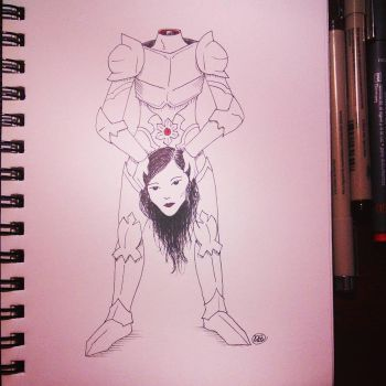 Inktober, MonsterGirl Challenge, Day 14: Dullahan by bunnykissd